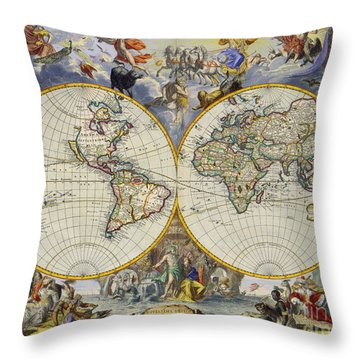 Artistic Old World Art Map  Throw Pillow by Inspired Nature Photography Fine Art Photography