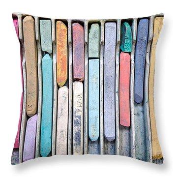 Artists Chalks Throw Pillow by Edward Fielding
