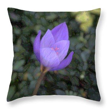Purple Flower Throw Pillow by John Freidenberg