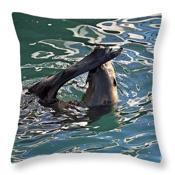 Artsy Sea Lion Throw Pillow by Susan Wiedmann