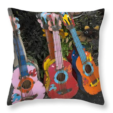 Arty Yard Guitars Throw Pillow