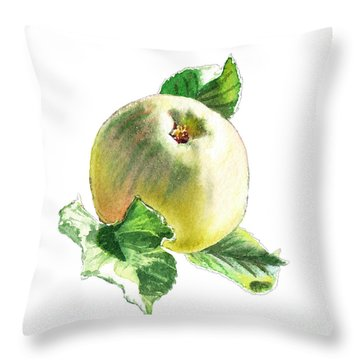 Throw Pillow featuring the painting Artz Vitamins Series A Happy Green Apple by Irina Sztukowski