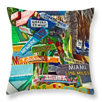 Aruba Fun Signs Throw Pillow