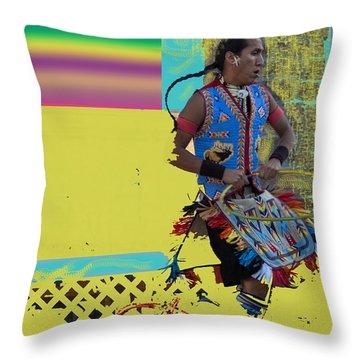 Throw Pillow featuring the photograph As Hoop Dancer Heals Via The Ether by Carolina Liechtenstein