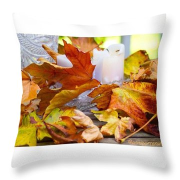 Maple Leaves Candles And Crystal Throw Pillow