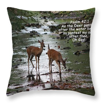 As The Deer Pants For Water Throw Pillow by Lorna Rogers Photography