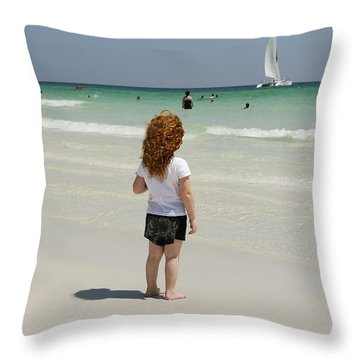 As The Sail Boat Rolls By Throw Pillow