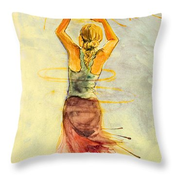 Throw Pillow featuring the painting As The Sun Rises by Angelique Bowman