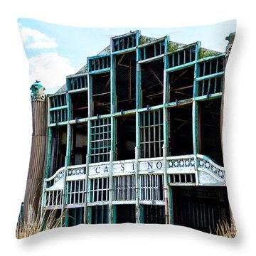 Asbury Park Casino - My City In Ruins Throw Pillow by Bill Cannon
