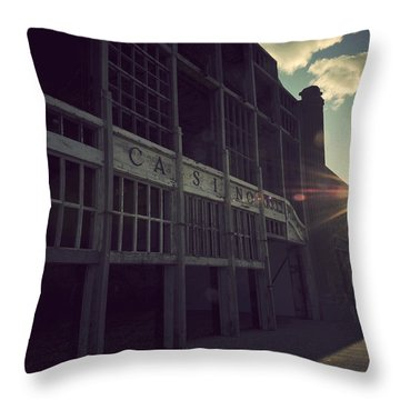 Asbury Park Nj Casino Vintage Throw Pillow by Terry DeLuco
