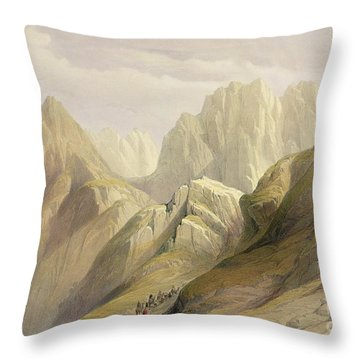Ascent Of The Lower Range Of Sinai Throw Pillow by David Roberts