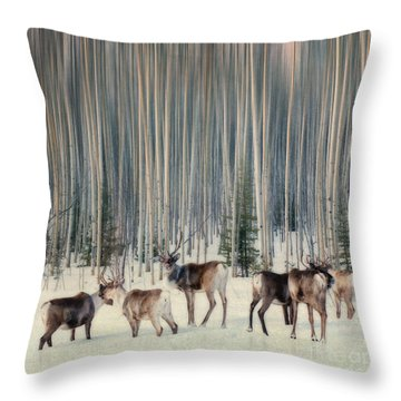 Caribou And Trees Throw Pillow