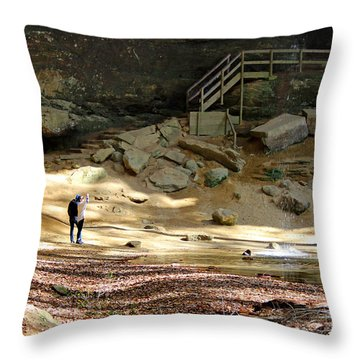 Ash Cave In Hocking Hills Throw Pillow