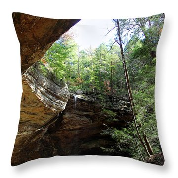 Ash Cave Of The Hocking Hills Throw Pillow