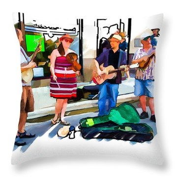 Asheville Buskers Throw Pillow