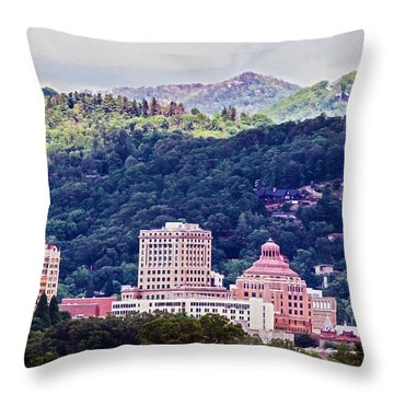 Asheville Painted Throw Pillow by John Haldane