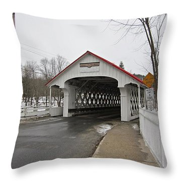 Ashuelot Bridge Throw Pillow by MTBobbins Photography
