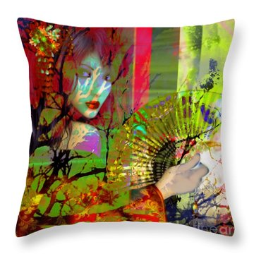 Throw Pillow featuring the digital art Asian Beauty by Diana Riukas