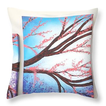 Asian Bloom Triptych Throw Pillow