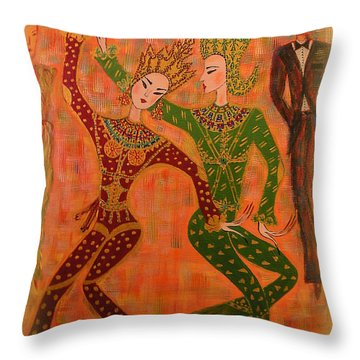 Throw Pillow featuring the painting Asian Dancers by Marie Schwarzer