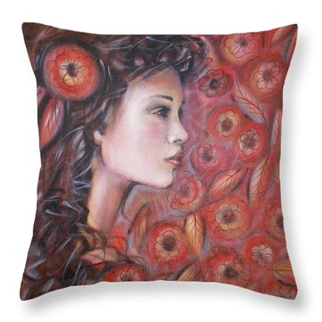 Asian Dream In Red Flowers 010809 Throw Pillow