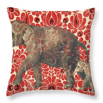 Asian Elephant-jp2185 Throw Pillow by Jean Plout
