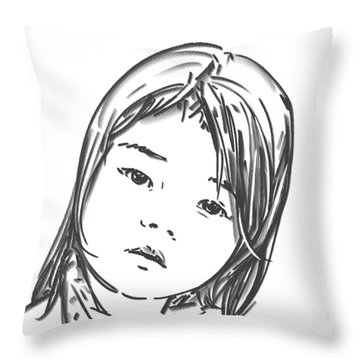 Throw Pillow featuring the drawing Asian Girl by Olimpia - Hinamatsuri Barbu