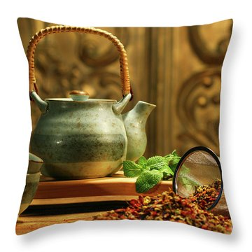 Asian Herb Tea Throw Pillow