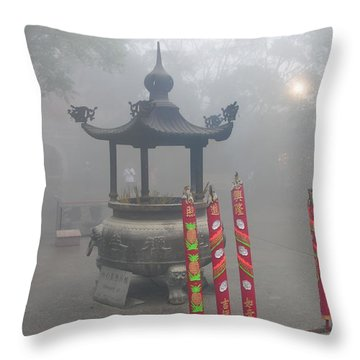 Throw Pillow featuring the photograph Asian Mornining In Lantau China by Jacqueline M Lewis