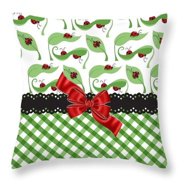 Asiatic Ladybugs  Throw Pillow by Debra  Miller