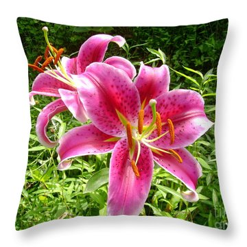 Throw Pillow featuring the painting Asiatic Lily  by Donna Dixon