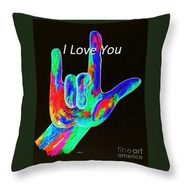 Asl I Love You On Black Throw Pillow by Eloise Schneider