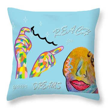 American Sign Language Reach For Your Dreams Throw Pillow