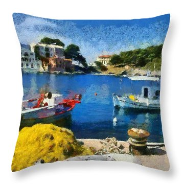 Asos Village In Kefallonia Island Throw Pillow by George Atsametakis