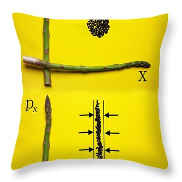 Throw Pillow featuring the photograph Asparagus And Black Rice Depicting Heisenberg Uncertainty Food Physics by Paul Ge
