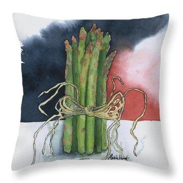 Asparagus In Raffia Throw Pillow