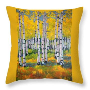 Throw Pillow featuring the painting Aspen Color by Nancy Jolley