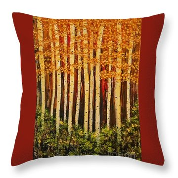 Aspen Grove  Throw Pillow by Sherry Flaker