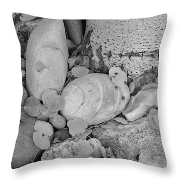 Aspen Leaves On The Rocks - Black And White Throw Pillow