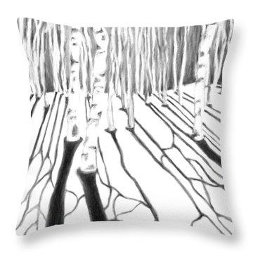 Aspen Snow Shadows Black And White Throw Pillow