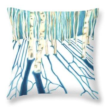 Aspen Snow Shadows Throw Pillow