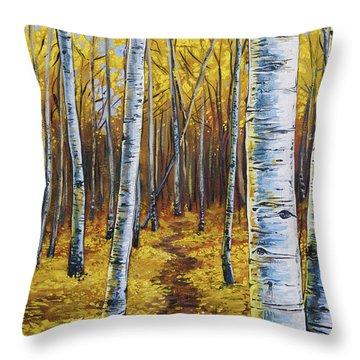 Aspen Trail Throw Pillow by Aaron Spong