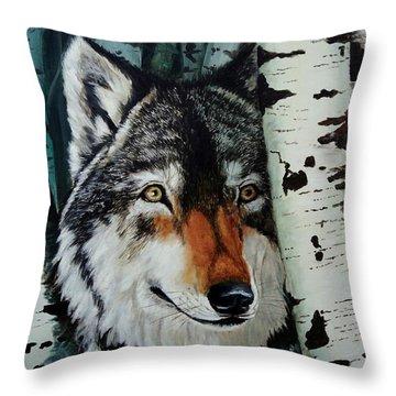 Aspen Wolf Throw Pillow