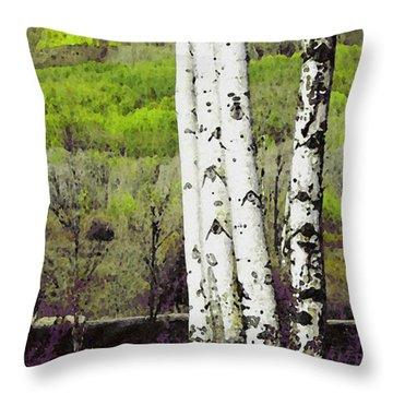 Aspens 4 Throw Pillow by David Hansen