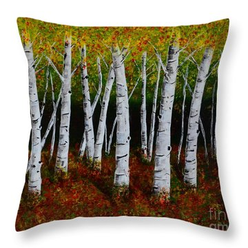 Aspens In Fall 2 Throw Pillow by Melvin Turner