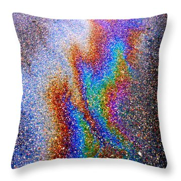 Asphalt Oil Slick Throw Pillow