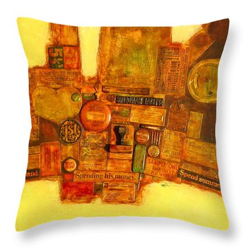 Assemblage Painting 6 Throw Pillow