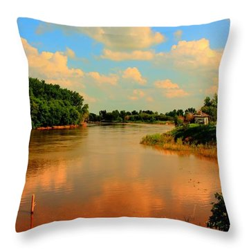 Assiniboine River Hdr Throw Pillow