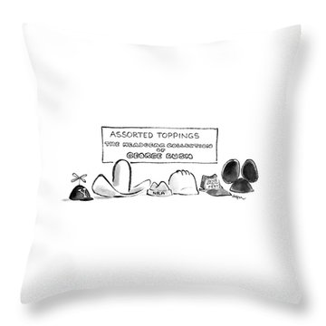 Assorted Toppings The Headgear Collection Throw Pillow by Lee Lorenz