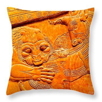 Assyrian Lion Throw Pillow